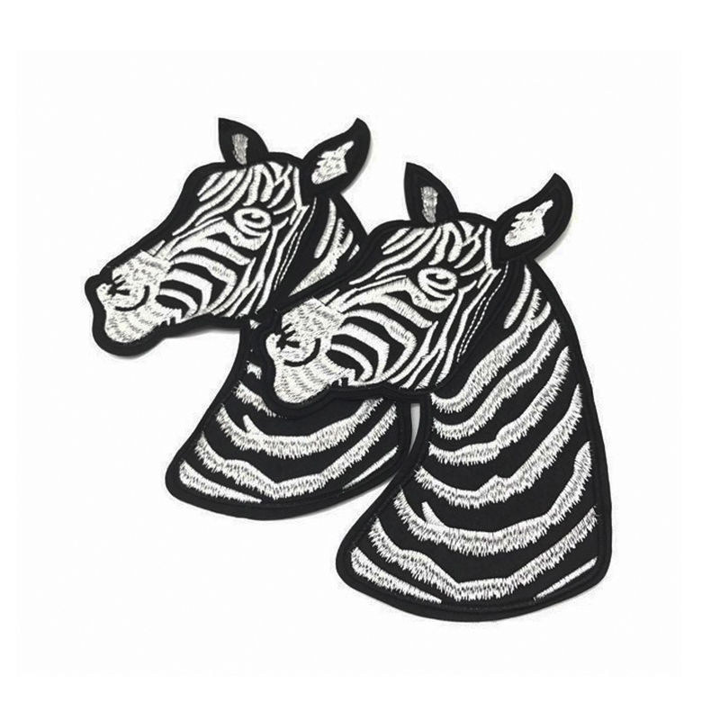 Custom t-shirt patch designs  animal zebra pattern sew on embroidery applique