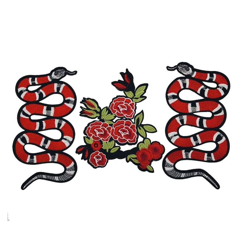 Wholesale custom applique patch designs animal snake and flowers pattern mechanical woven embroidery on t shirt