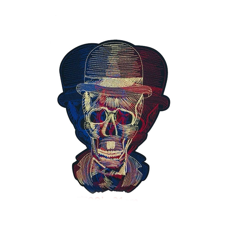 Custom cloth diy design hat skull pattern machine embroidery iron on patches for t shirt