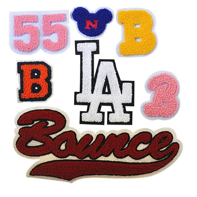 Custom chenille badge letter logo pattern towel labels embroidered patch for clothing