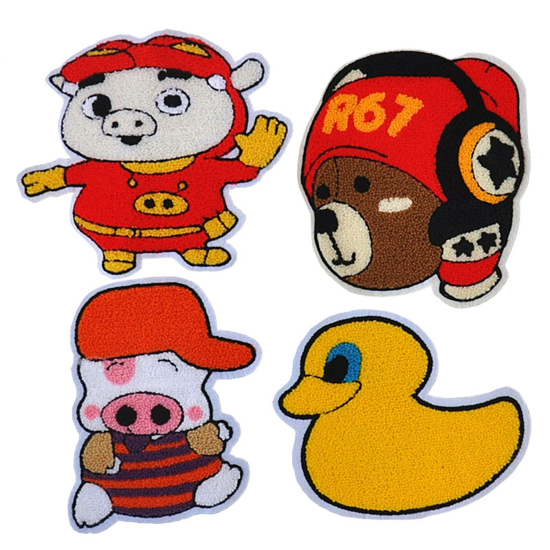 Custom applique cartoon pattern iron on towel chenille embroidery patch for kids clothing
