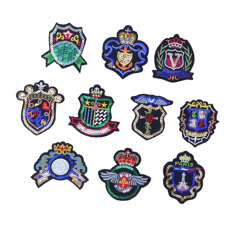 Custom diy badge patch design machine embroiderysequin sticker bead label for clothing