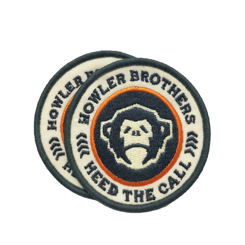 Custom high quality circular badge orangutan pattern logo design embroidered patch for clothing