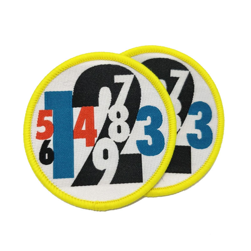 Custom round badge design numbers pattern applique woven embroidery patch for garment