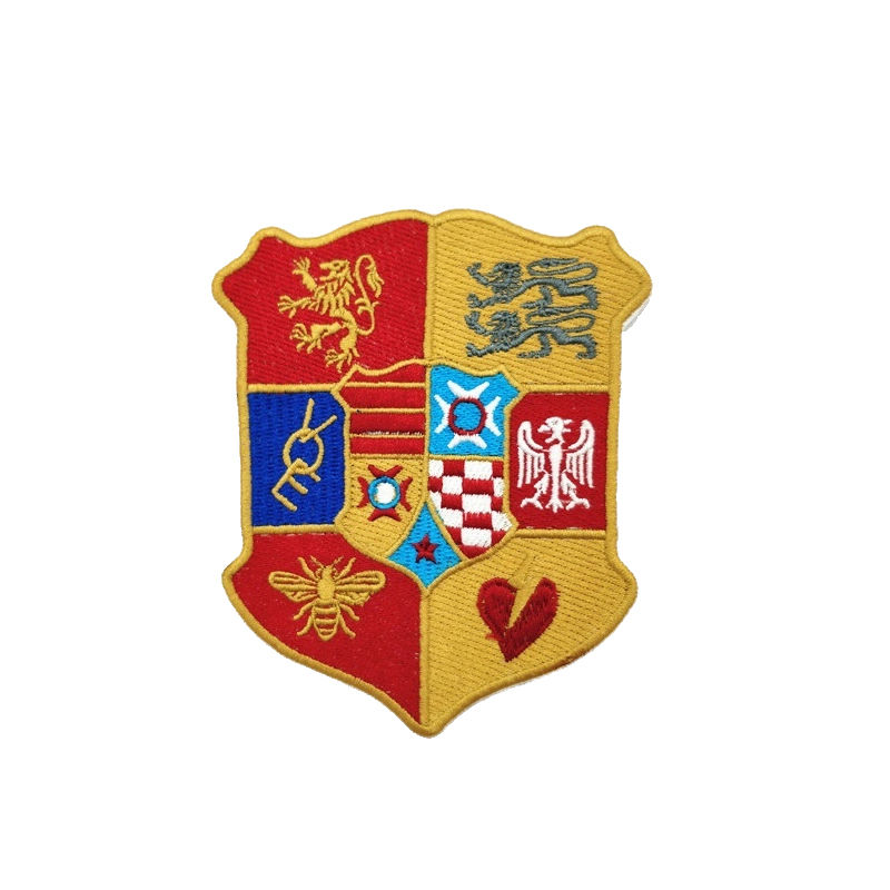 Custom diy badge pattern school emblem of shield desgin embroidery patch for clothing