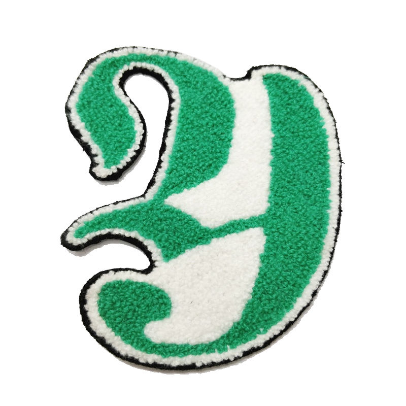 Custom letter logo design pattern towel embroidery chenille patches for garment