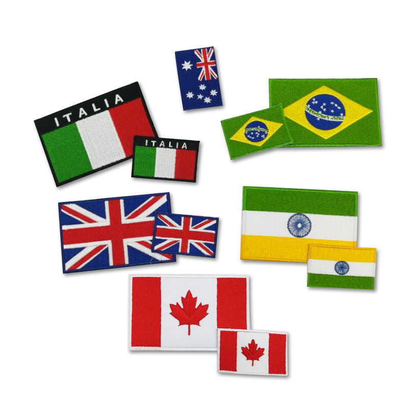 Custom badges national flag design sew on sticker embroidery patch label for clothing