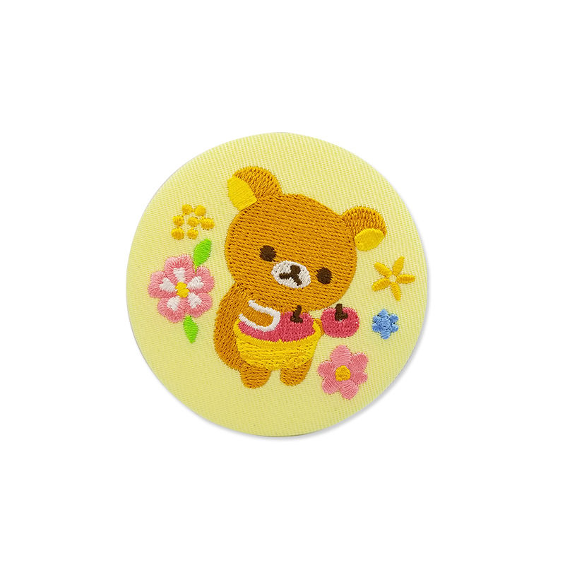 Custom circular badge cartoon bear pattern design woven embroidery sew on patch for clothing