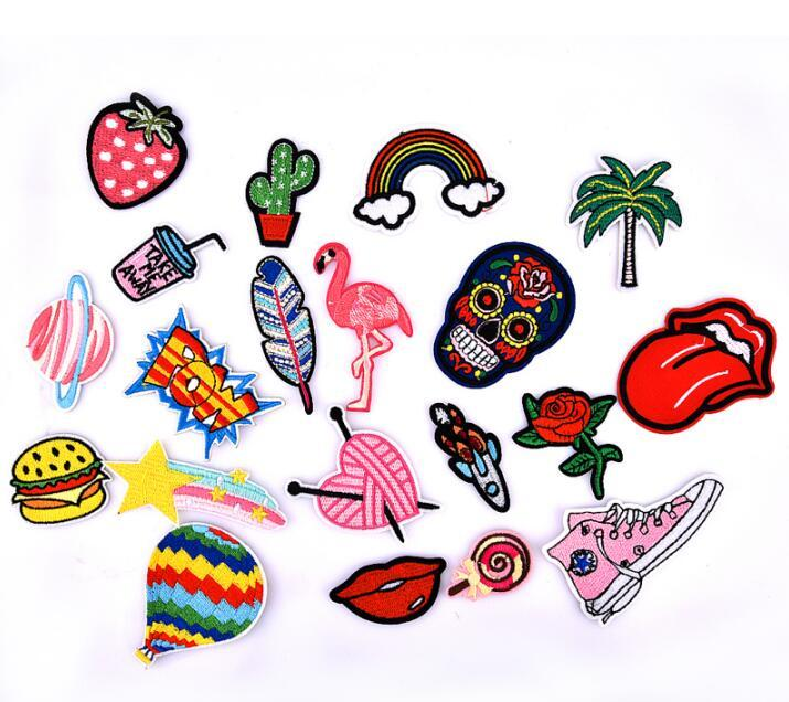 Custom garment patch colorful cartoon design sew on applique embroidery for clothing