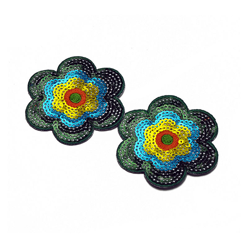 Custom applique flowers pattern design sequin embroidery bead patch for clothing