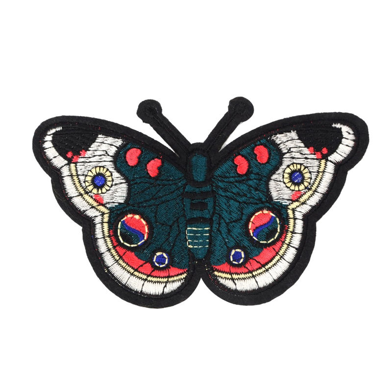 Custom iron on patches butterfly design pattern machine woven embroidery for garment