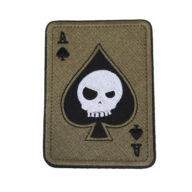 Custom badge sticker spades letter A poker design sew on embroidery patch for clothing