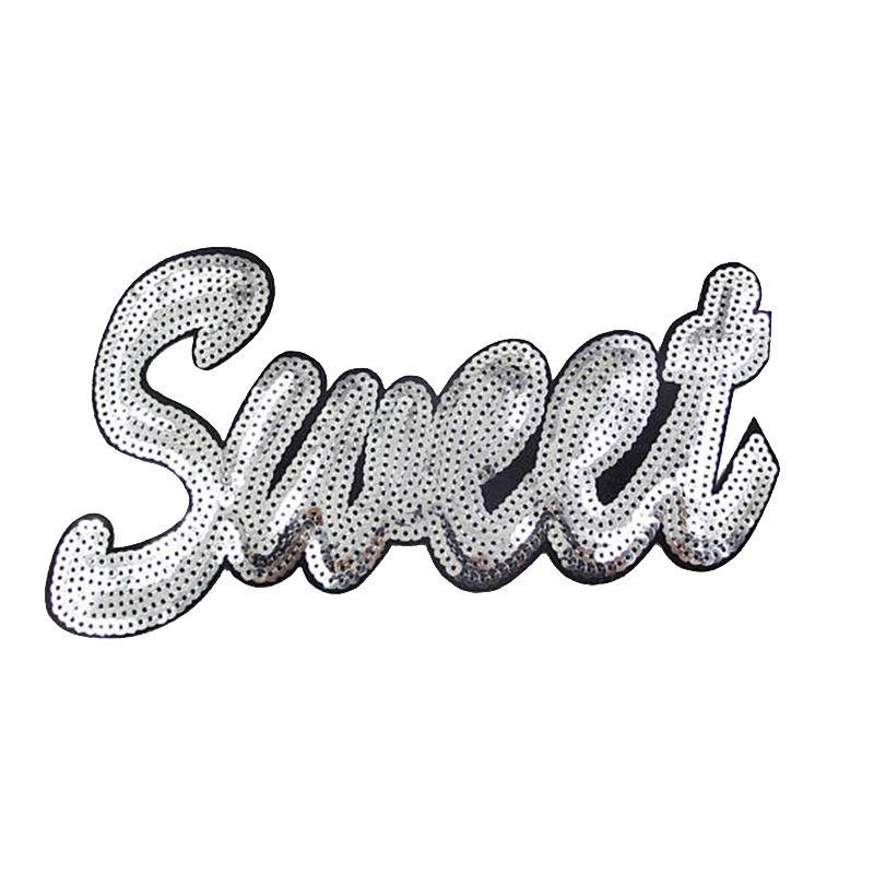 Wholesale custom patches letter design iron on sequin applique for garment