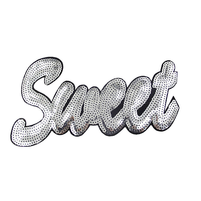 Wholesale custom patches letter design iron on sequin applique for garment