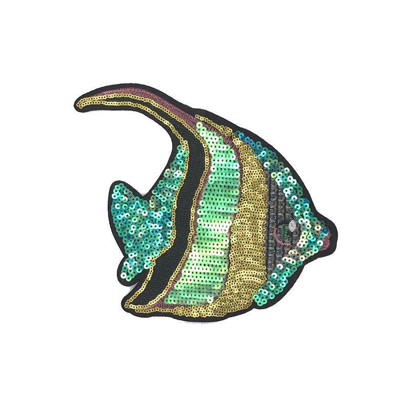 Custom sequin animal fish patch diy popular sew on applique for clothing