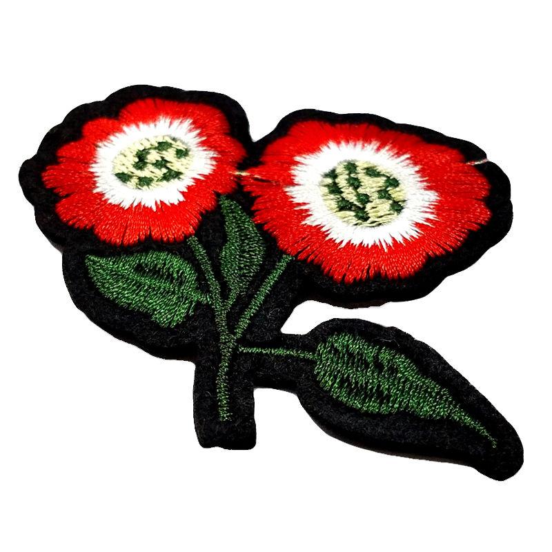 Custom garment adornment flower designs embroidery patch woven applique