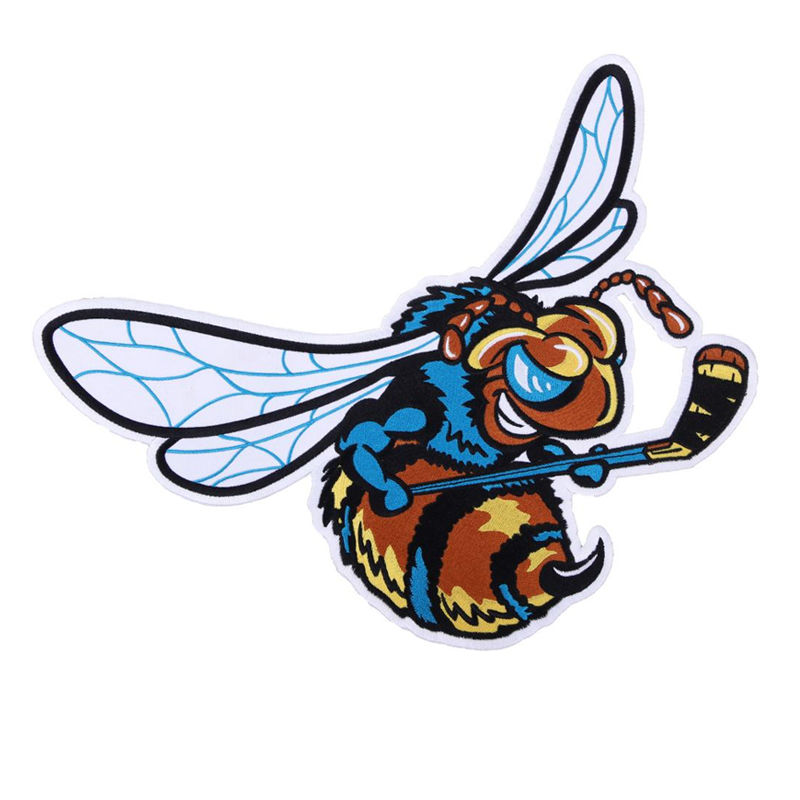 Custom clothing accessories cartoon bee designs applique iron on embroidery patch