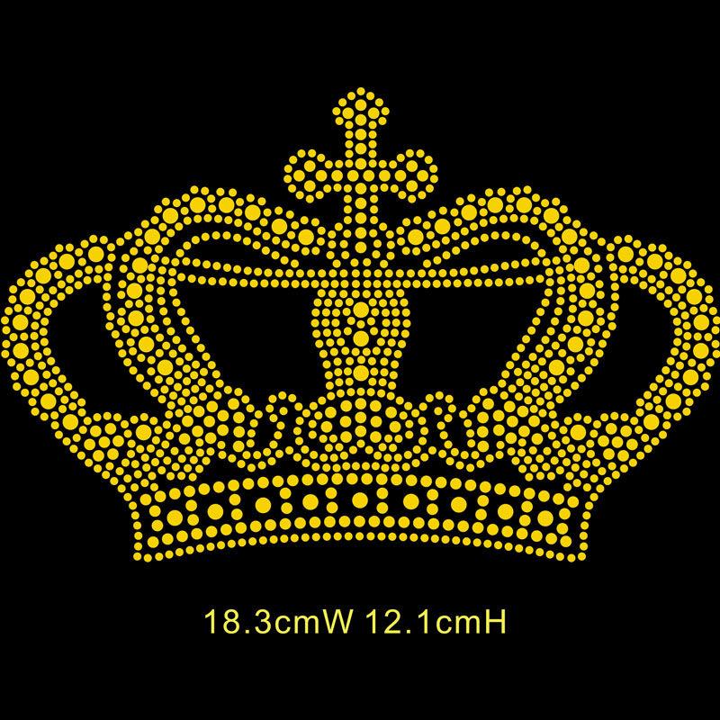 Custom t shirt heat press crown designs bling rhinestone transfers wholesale