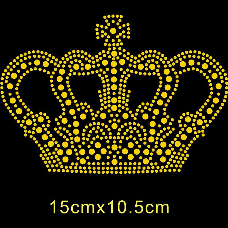 Hot fix rhinestone transfer motif crown designs for garment iron on