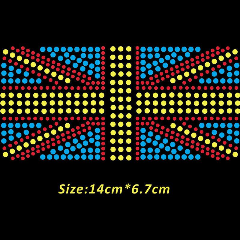wholesale iron on bling rhinestone transfers union flag design for clothing