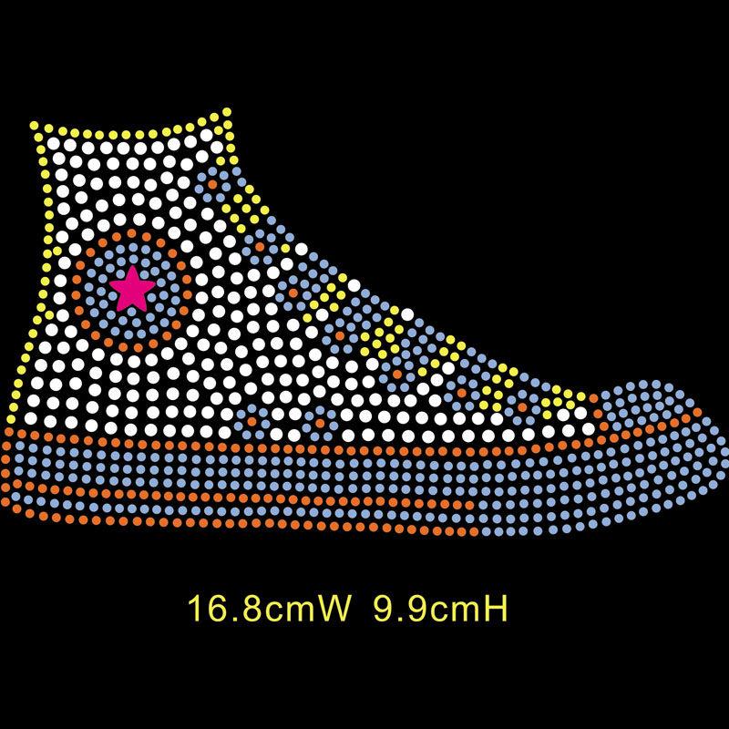Custom hot fix rhinestone transfers sport shoes motif designs