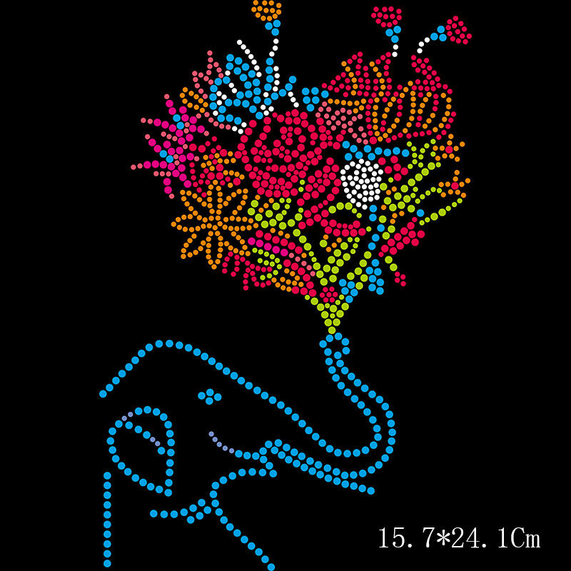 Custom t shirt design flowers heat press iron on rhinestone transfers
