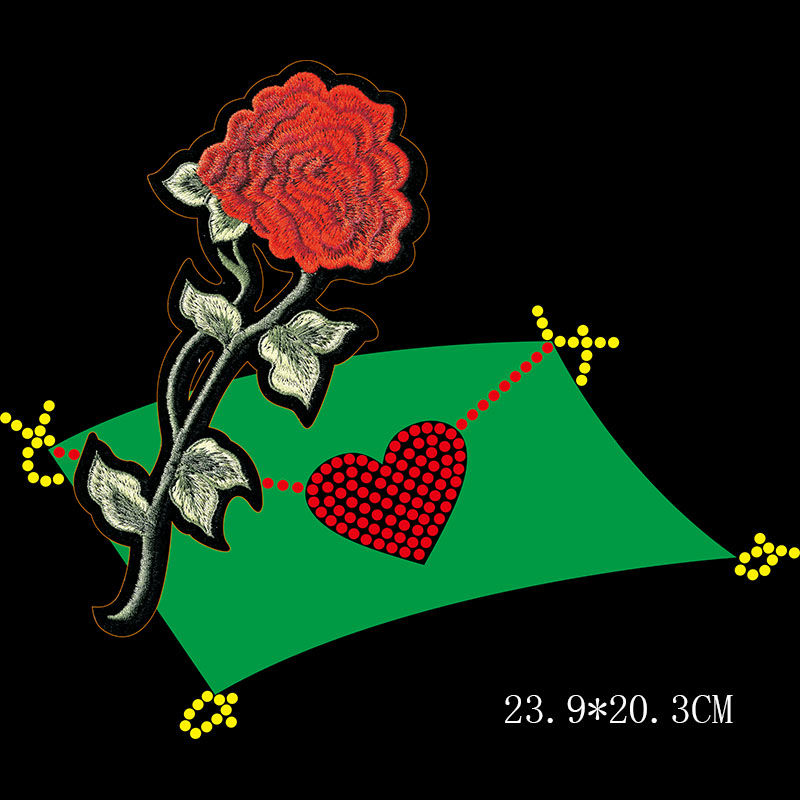Custom rose flower design rhinestone transfer combined with embroidered applique