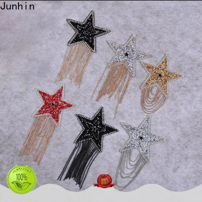 top quality gold rhinestone applique manufacturer for textile