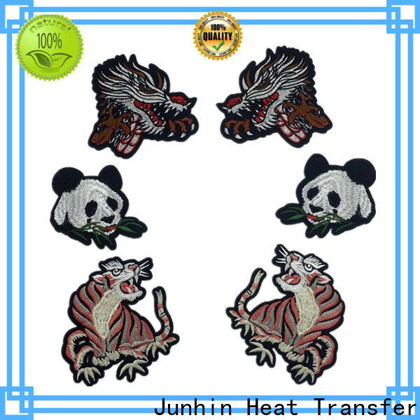 Junhin promotional embroidered patches near me supply for garments