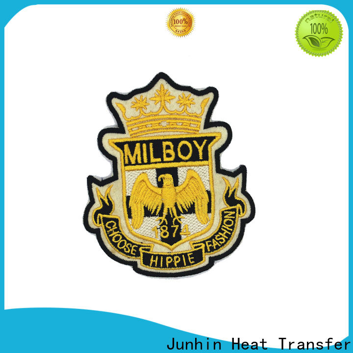 Junhin high-quality embroidery patches designs factory for bags